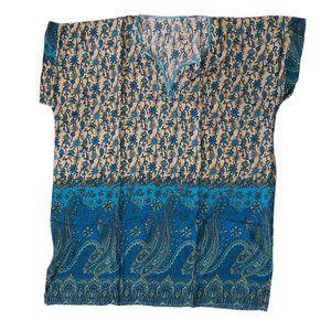 4XL Peasant tunic summer airy hippie boho Blue